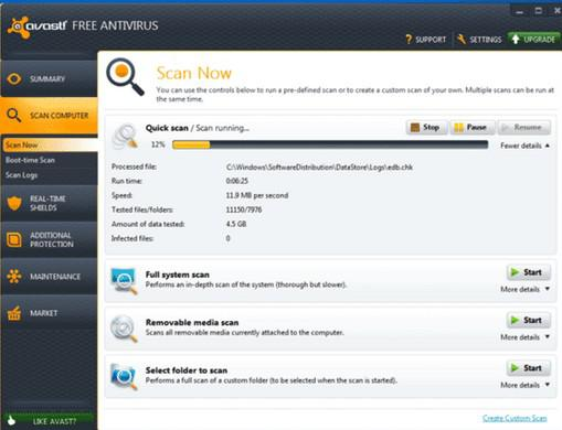 avast scan stuck 2018