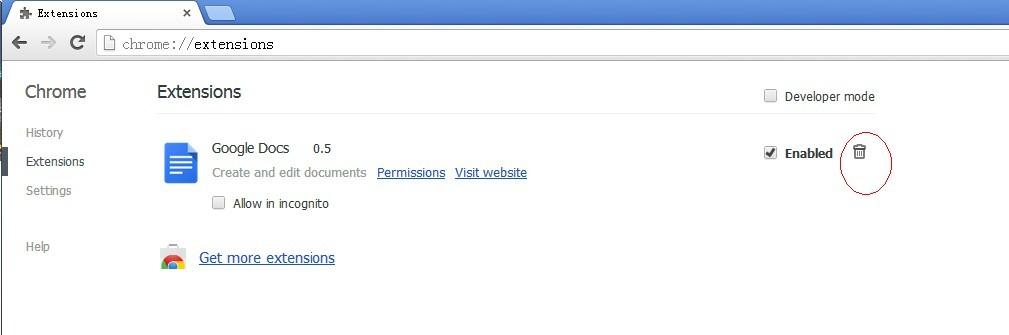 trash Google chrome extension