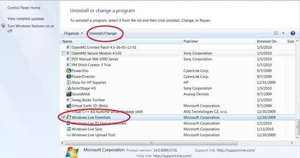 Uninstall Windows Live Essentials (Several Methods