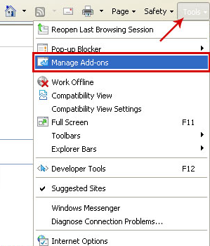 IE manage add-on