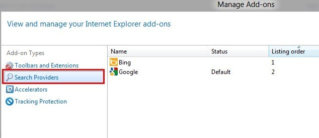 IE search providers