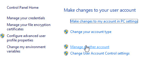 manage accounts win8