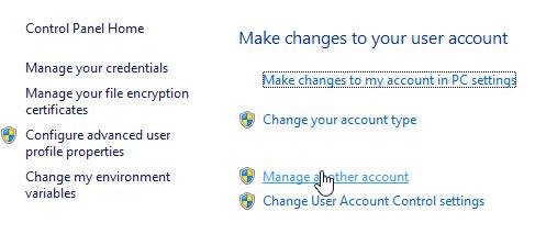 manage accounts win8