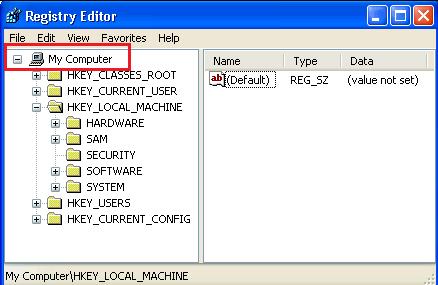 registry editor - My Computer