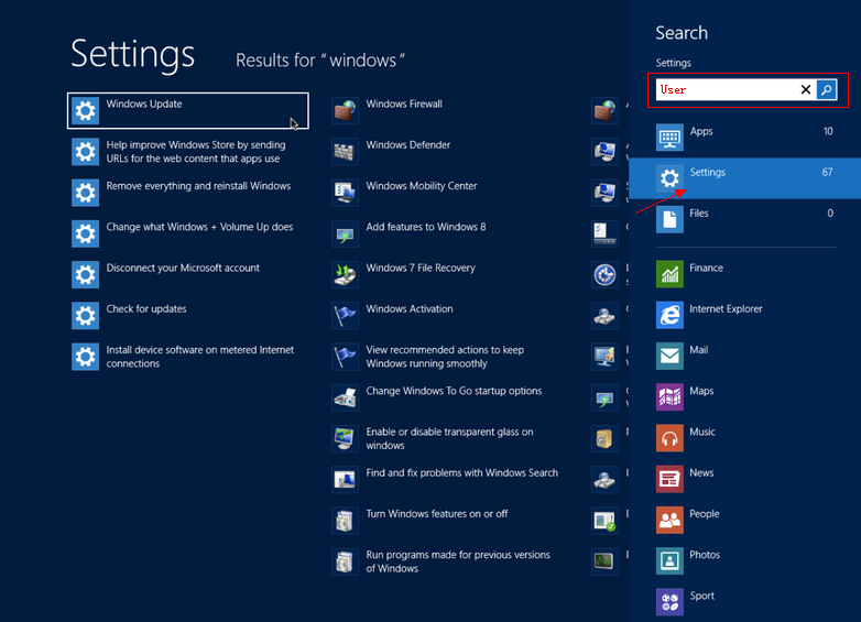settings win8