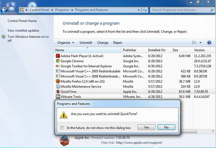 uninstall qucik time win8