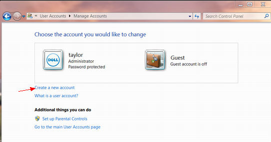 win7 create a new account