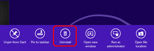 win8 uninstall icon