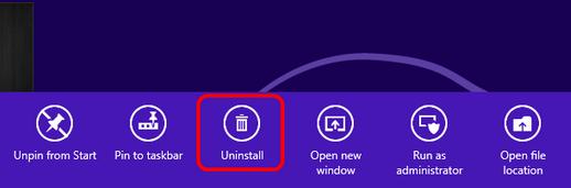 win8 uninstall icon