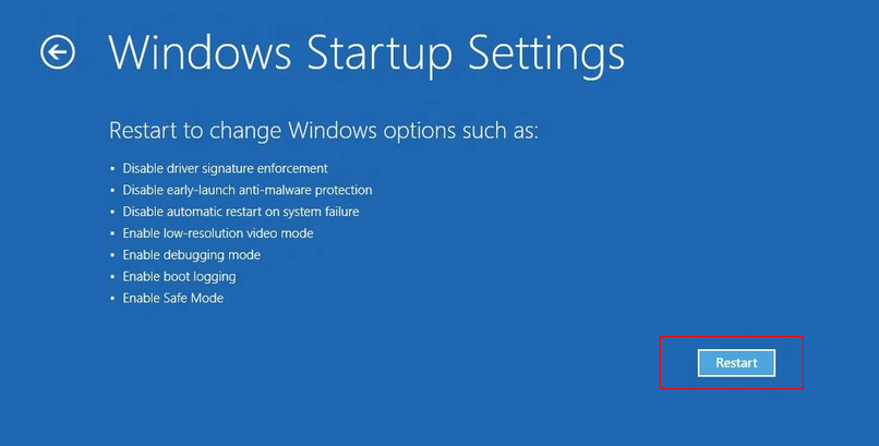 windows startup settings Restart