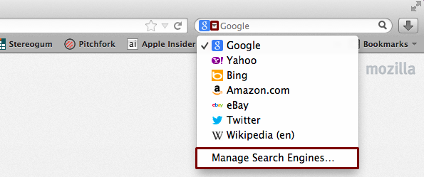 Firefox manage search engine
