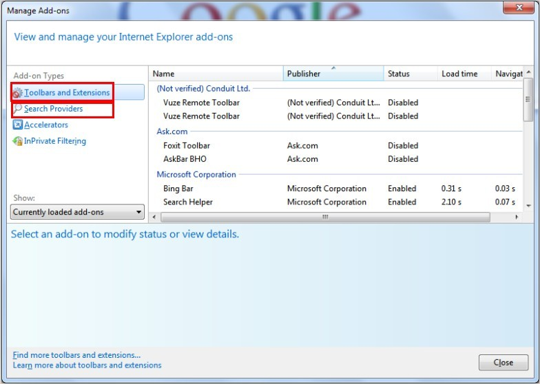 manage addon IE