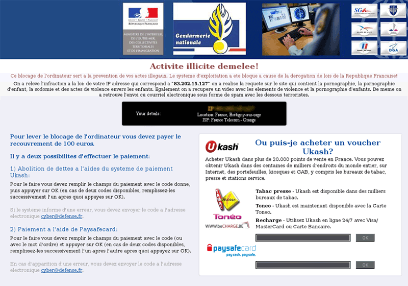 French UKash Virus Removal, Remove Android Phone Scam