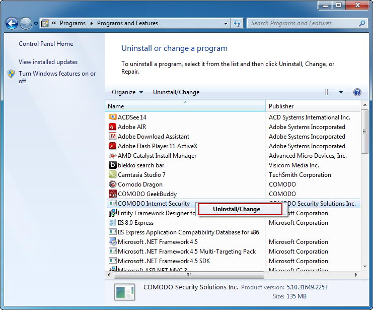 win 7 uninstall comodo