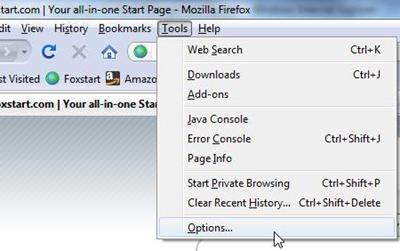 Firefox tools options