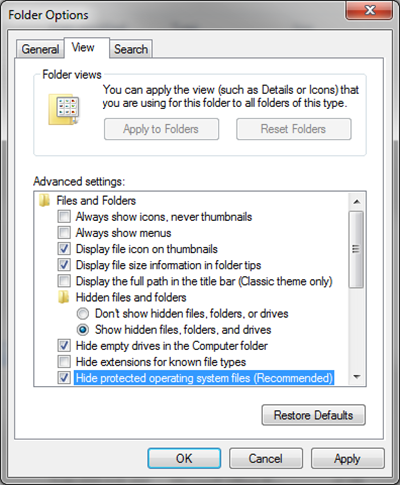 file folder view tab