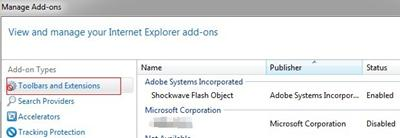 toolbar and extensions ie