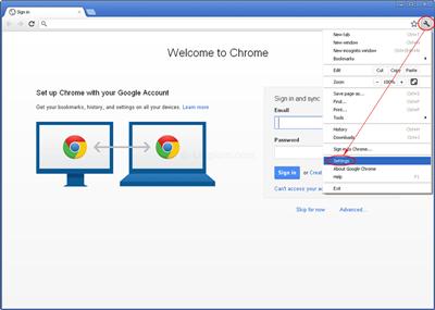 google chrome seetings icon