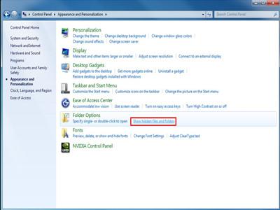 show hidden files tab