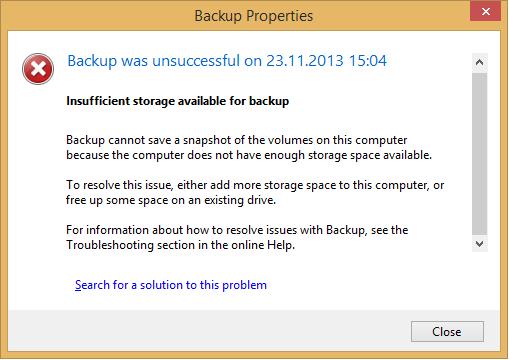mypc back up service fail