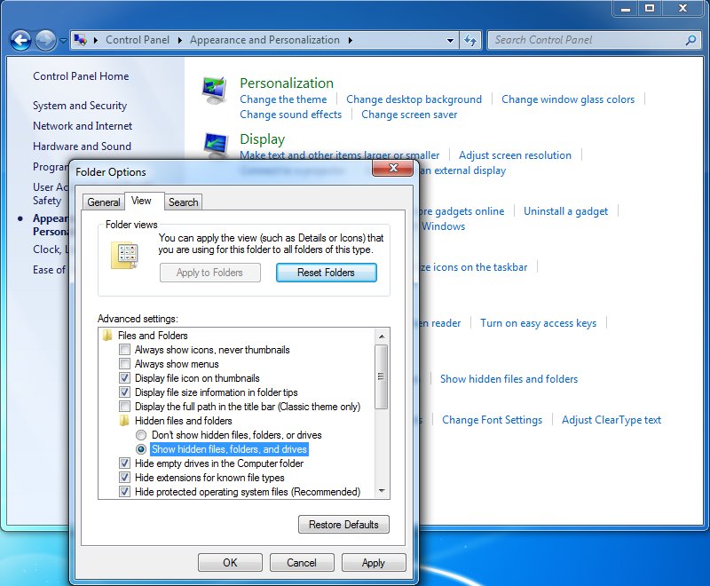 how to get your pc to show hidden files