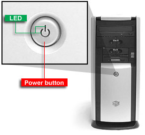 push on power button to cold restart computer