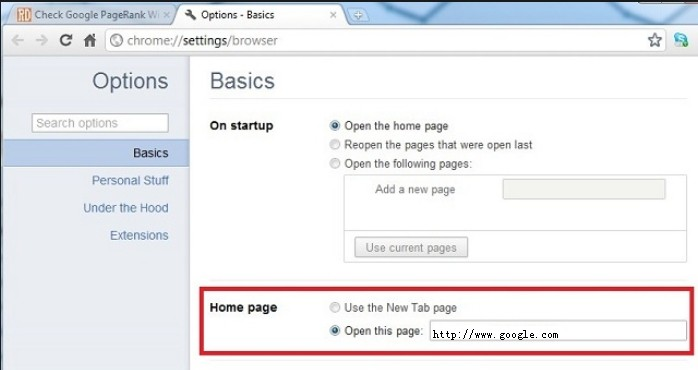 restore Chrome homepage from websearch.searchinweb.info