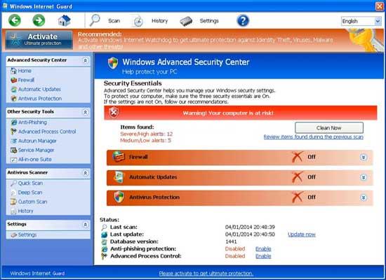 remove Windows Internet Guard