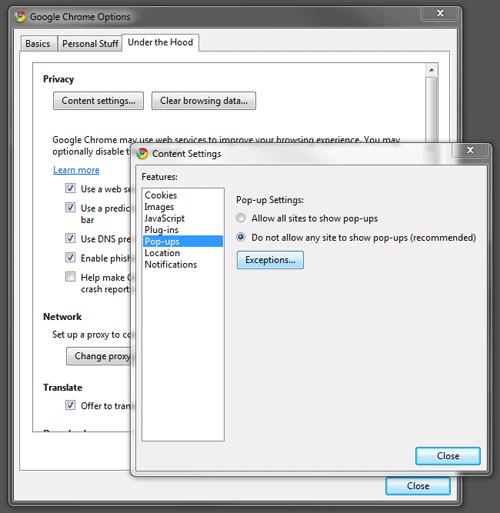 how to turn off pop ups on mac chrome