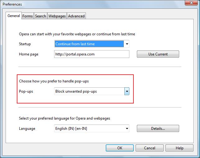 Enable Opera popup blocker to stop systweak.com