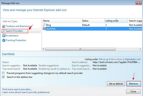 remove dm.startnow.com search engine from IE