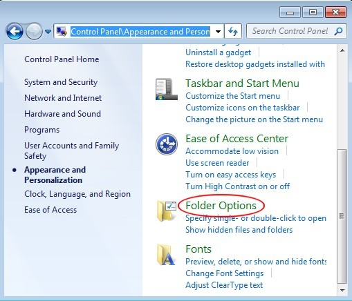 access folder options to remove the hidden items related to PUP.Optional.SearchProtect.A