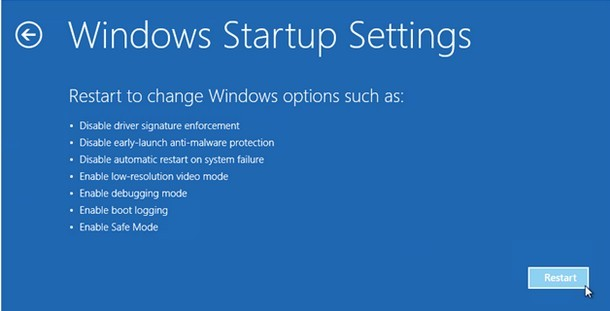 Windows set up settings
