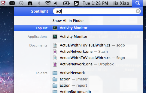 Access  activity monitor to end the processes related to PUP.optional.MySearchDial.A