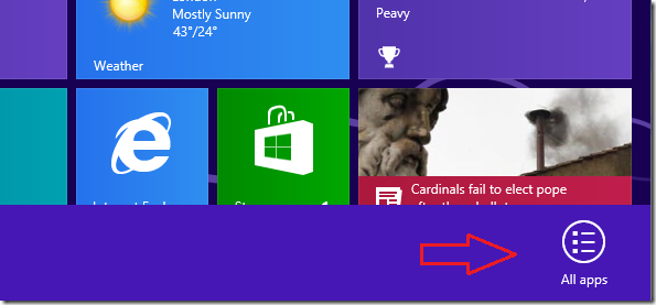 access all apps on Win8 to help end the processes related to GoFastPC
