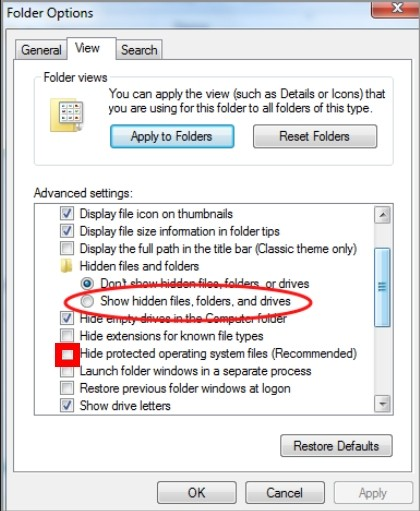 show hidden files on WIndows7/Vista/XP to remove the items hidden and dropped by Packed.Win32.Krap.hc