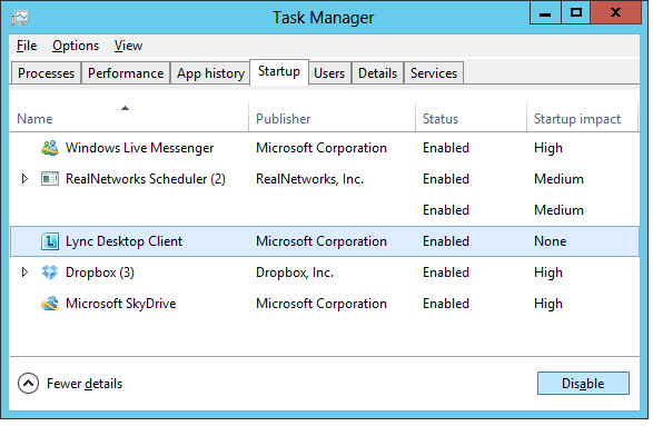 end PC Clean Maestro's startup items on Win8