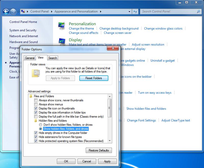 show hidden file on Windows7/XP/Vista