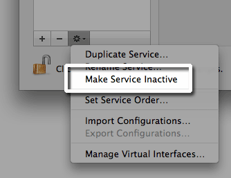 inactivate service on Mac