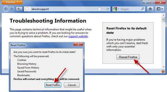 reset Firefox to rectify back browser settings changed by Websearch.searchtheglobe.info browser hijacker - VilmaTech